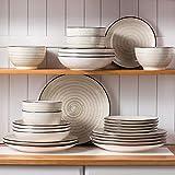 Vancasso Tafelservice Steingut, BONBON 24 teiliges Geschirrset, handbemaltes Kombiservice für 6 Personen, Vintage Aussehen - 5