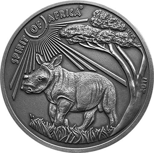 Power Coin Rhinoceros IV Spirit of Africa 1 Oz Moneda Plata 1000 Francos Burkina Faso 2017