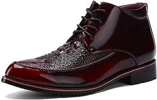 OYWNF Bottines à Lacets for Hommes Faux Crocodile Cuir Microfibre Haut-Dessus Vintage Coton Chaud Chaussures Formelles Sau...