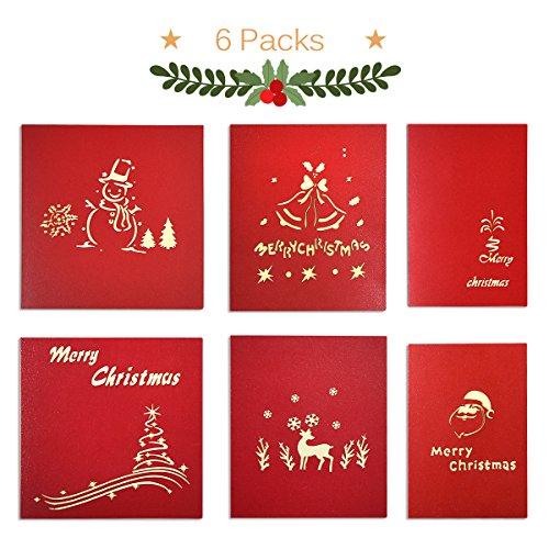 Ontseev Weihnachtskarte [6 Packs] Pop Up 3D Karte zu Weihnachten Geschenkkarte (Schneemann, Glocke, Haus, Weihnachtsbaum, Elch, Weihnachtsmann)
