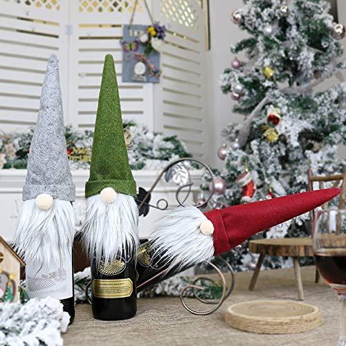 Gnomes - Decoración para botella de vino de Navidad, Papá Noel suecos, Tomtes para fiestas navideñas, cubierta de champán, suéter de punto, bolsa