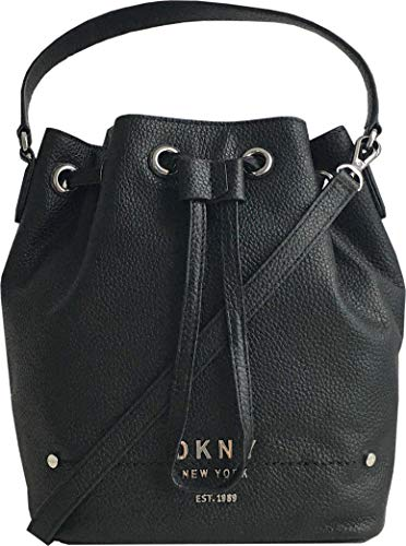 DKNY Bucket Leather Handbag with Removable Crossbody Strap in Black