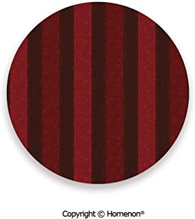 Baroque Nature Theme Vertical Bold Lines Vintage Faded Garden Flourishing Plants,Cup Coasters With Anti Scratch Cork Back Maroon Scarlet,3.9×0.2inches(4PCS),Protect Furniture From Coffee Or Tea