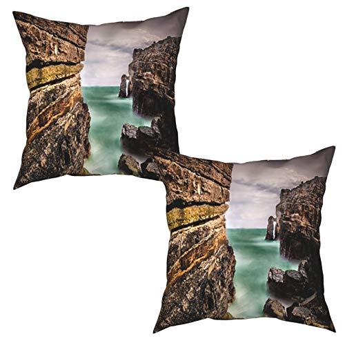Pack de 2 Fundas de Almohada,Roca y Larga exposición,Funda de Cojín Cuadrado de Protectora de Almohada para Sofá Cama Decoración del Hogar (50x50cm) x2