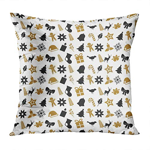 Qryipd Throw Pillow Cover Christmas Icons Seamless Tree Snow and Stars Home Decor Living Room Bedroom Office Polyester Pillowcase
