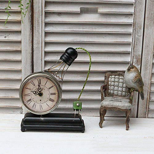 SWNN Reloj Despertador Antiguo Reloj De Hierro Forjado Imitación De Estilo Europeo Retro Reloj De Mesa Adornos Cafe Bar Bombilla Forma Reloj