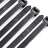 Cable Zip Ties Heavy Duty 8 Inch, Ultra Strong Plastic Wire Ties with 80 Pounds Tensile Strength, 100 Pieces, Nylon Tie Wraps with 0.24 Inch/6mm Width in Black & White, Indoor and Outdoor UV Resistant