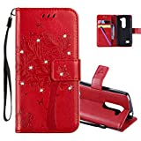 HMTECHUS LG Leon 4G LTE H340N Case 3D Crystal Embossed Love Cat Butterfly Handmade Diamonds Bling PU Flip Stand Card Holders Wallet Cover LG Leon 4G C40 Wishing Tree Red KT