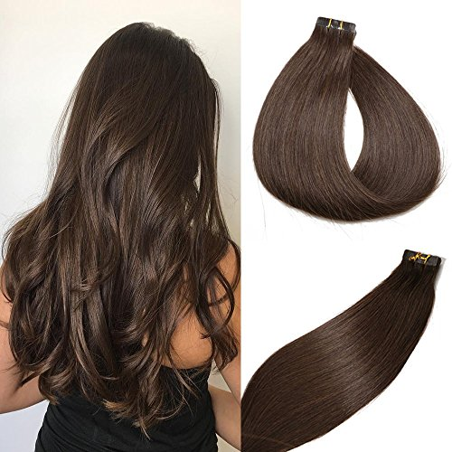 Tape in Hair Extensions #2 Dark Brown 100% Remy Human Hair Extensions Silky Straight for Fashion Women 20 Pcs/Package(16Inch #2 30g)