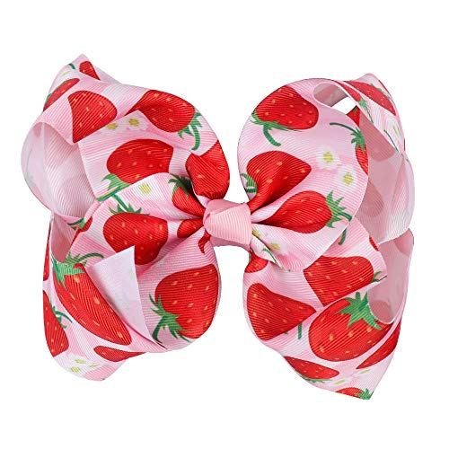 Fruit Ribbon Hair Accessories Bow Summer Wind Girl Boutique Bow Cotton Strawberry Headband Cute Hair Clip Kid Hair Accessories 7 Inch