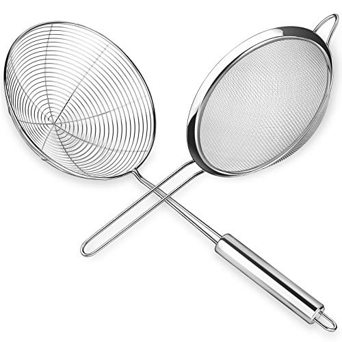 Oanie Premium Stainless Steel Fine Mesh food strainer and Spider Strainer Skimmer(diameter 6.7inch, 6.6inch), Skimmer Spoon for Kitchen with Sturdy Handle for Frying and Cooking, Pasta Strainer
