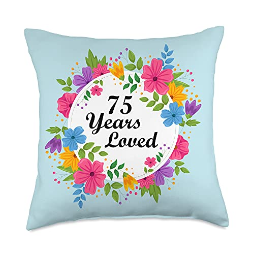 Men Women 75th Birthday Gift Apparel 75 Years Old Floral Design Grandpa Grandma 75th Birthday Throw Pillow, 18x18, Multicolor