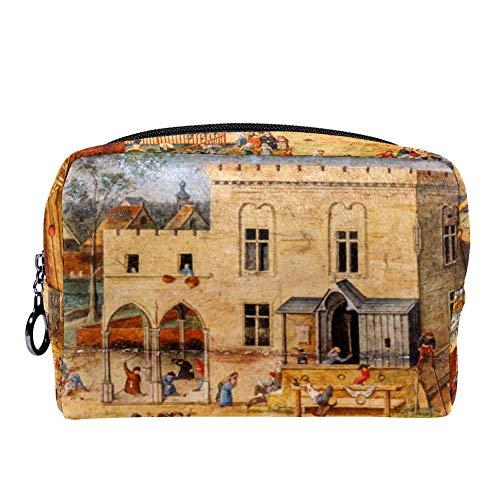 15e en 16e eeuw Zuid-Nederlandse schilderij make-up cosmetica tas tas multifunctionele draagbare toiletorganizer voor reizen make-up gebruiksvoorwerpen 7.3x3x5.1in Kleur01