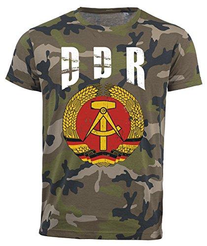 T-Shirt DDR Deutschland Camouflage Army WM 2018 .- Vintage Destroy Wappen D01 (XL)