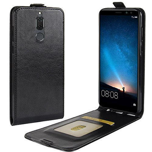 Zl One Compatível com/Substituição para Capa de telefone Huawei Mate 10 Lite Couro Poliuretano Proteção Cartão Compartimentos Capa carteira Capa flip (Preto)