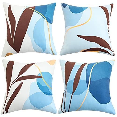 ETOLISHOP - Set di 4 federe per cuscini decorativi in velluto quadrato, per casa, ufficio, divano, auto, giardino, 45 x 45 cm, colore: verde acqua