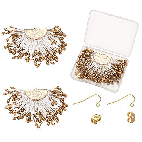 Cheriswelry Kit de pendientes bohemios con borla para colgar en el extremo de la gota con ganchos de acero inoxidable para la fabricación de joyas, oro