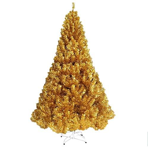 N/Z Inicio Equipos Árbol de Navidad - 5 pies / 6 pies / 7 pies Árboles Artificiales Pino con Soporte de Metal sólido Árbol de Navidad Esponjoso Festival Fiesta Decoración navideña Oro 2,1 m / 7 pies