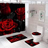 Red Roses Shower Curtain Sets with Rugs and Hooks,4 Pcs Bathroom Set with Soft Flannel Bath Mats Toilet Lid Cover and Waterproof Bathroom Curtain,Black Background Fabric Shower Curtains with Rugs