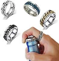 Grokebo 栓抜き指輪 リング 栓抜き ポータブル 多機能 ステンレス鋼 カップルリング お洒落 回転 指輪 ボトルオープナー 結婚式 誕生日 父の日 ギフト パーティー
