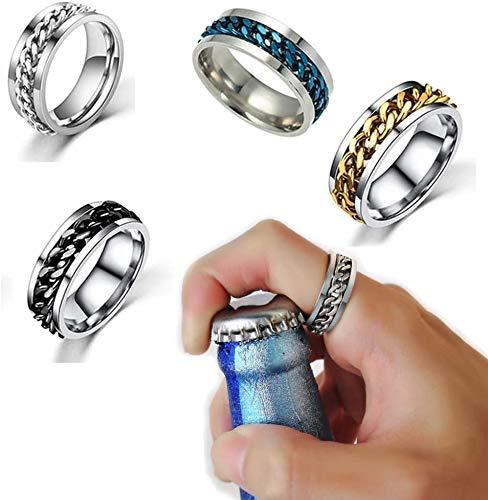 2 piezas/4 anillos de acero inoxidable para parejas, abridor de botellas giratorio, anillo de fiesta, abridor de botellas de cerveza multifuncional creativo