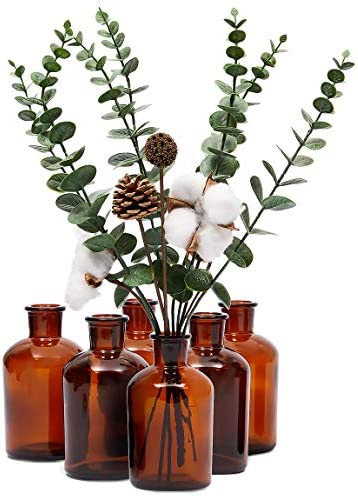 Amber Glass Bottles Vintage Style Pharmacy Bottles 2 5 x 4 8 In 6 Pack product image