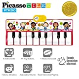 PicassoTiles PTM200 Portable Large Piano Keyboard Educational Music Mat Playmat w/6 Different Musical