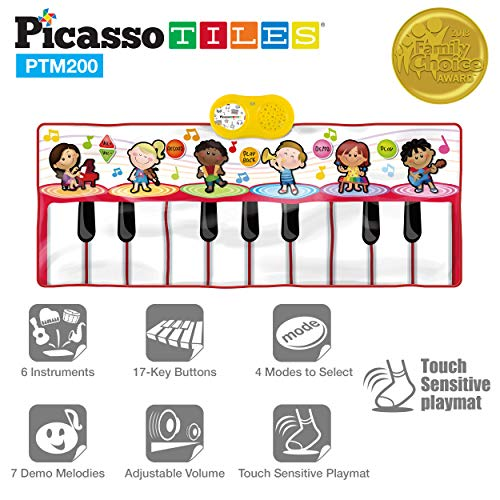 PicassoTiles PTM200 Portable Large Piano Keyboard Educational Musical Playmat w/ 17-Key, 6 Musical...