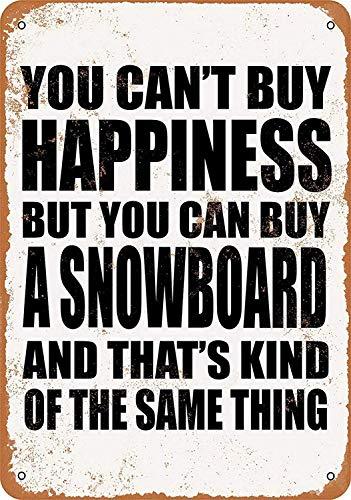 HNNT Metalen bord 8x12 inch Je kunt geen geluk kopen, maar je kunt een Snowboard kopen voor muurdecoratie