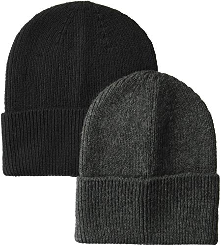 Amazon Essentials 2-Pack Knit Hat Skull-Caps, Gris, Negro, One Size