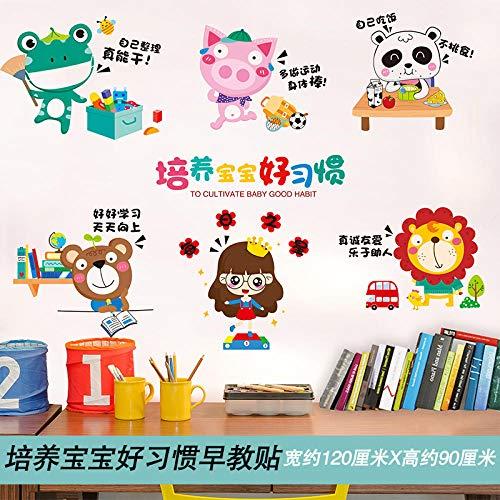 Cartoon 3d Wandaufkleber Kinderzimmer Wand kreative Wandaufkleber Schmuck-24 Training Baby ist gute Gewohnheiten Früherziehung stickers_Big