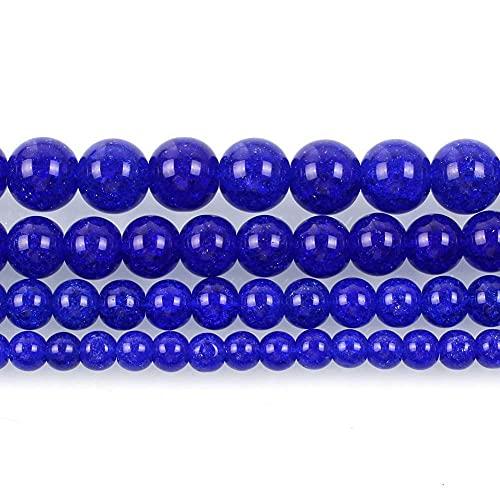 Piedra natural azul real agrietado encanto de cristal redondo cuentas sueltas para hacer joyas costura DIY pulsera Strand 4-12 mm H7129 10mm aproximadamente 38pcs