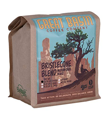 Great Basin Freshly Ground Coffee, 12 Ounces Premium Small Batch Medium Dark Roasted, Bristlecone Blend, Perfect for Making French Press Coffee, Cold Brew, and Pour Over Coffee, 3/4 lb (340 g)