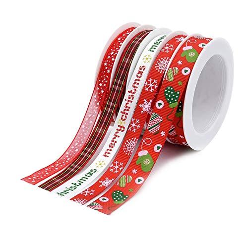 Snner 5 Cinta de Navidad Rollos de Tela de Navidad Grosgrain Cintas de Raso para el Regalo de Envolver, Clips DIY del Arco del Pelo, Costura, decoración de la Boda