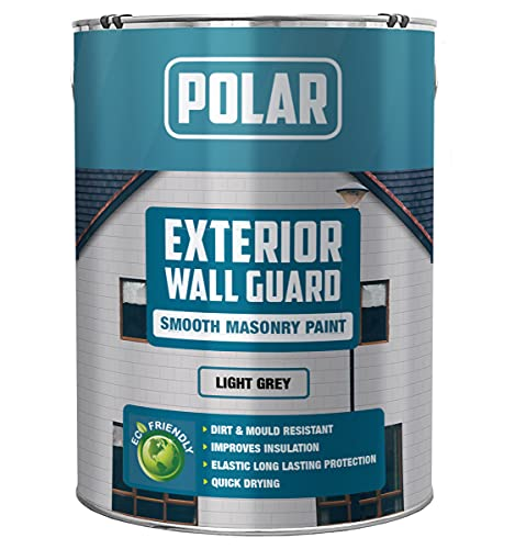Polar Premium Smooth Finish Matt Light Grey Wallguard Masonry Paint - 5...