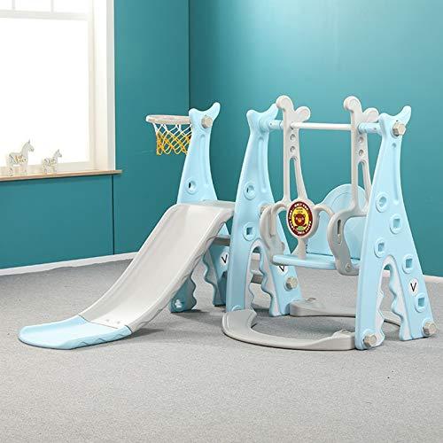 Muyuuu Juego de swing y diapositivas para niños pequeños, 3 en 1 Juego de niños Combinación de diapositivas con escalona con aro de baloncesto, escaleras de escala fácil, jugadas para niños para inter