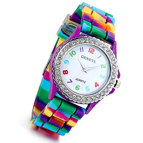 Lancardo Reloj Analógico de Cuarzo Original Jalea Rainbow Correa de Silicona Pulsera Electrónica con Bisel de Diamantes Artificiales con Números Árabes Coloridos para Mujer Dama (Morado)