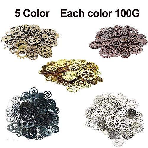 XYJIE 500Gram Surtido Vintage 5 Color mezclado Metal Steampunk Engranajes Encantos Colgante Reloj Reloj Engranaje de la rueda para hacer manualidades, Fabricación de joyas Accesorio (Mixto 5 colores)