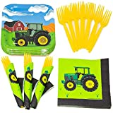 Tractor Value Party Supplies Pack (58+ Pieces for 16 Guests), Value Party Kit, Tractor Party Plates, Tractor Birthday, Napkins, Forks, Tableware