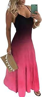 Yying Vestido Casual de Mujer Vestido Largo con Estampado de gradiente Boho de Gran tamaño Verano Cuello Redondo Espagueti...