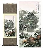 Grace Art Asian Wall Scroll, Autumn Mountain River