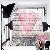 BINQOO Fondo de pared de ladrillo de corazón rosa de 1,5 x 2,1 m para el día de San Valentín, color rosa, fondo de fotografía de suelo de madera para baby Showers Kids Retrato de fotos