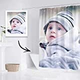 VEELU Funny Custom Full Photo Shower Curtain with Hooks, Decorative Personalized Blossom Shower Curtain Liner Set, Polyester Fabric Waterproof Bath Curtains 36 X 72