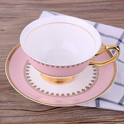 Acoome Juego de taza de té y platillo, 192 ml, porcelana de hueso, color rosa