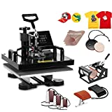 Hihone 8 in 1 Heat Press Machine, 15 x 15 inches Digital Sublimation 360 Degree Swivel Professional Heat Transfer for T-Shirt, Hat, Bag and Mug