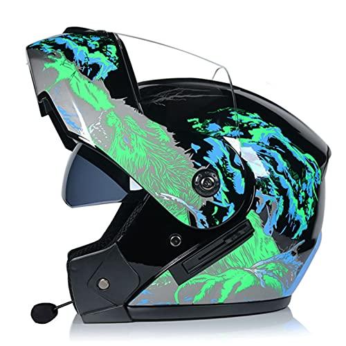 Casco integral Bluetooth modular para motocicleta Casco integral unisex para adultos con visera solar doble abatible Aprobado por ECE para ATV UTV Chopper Skateboard Bike Scooter,A,S