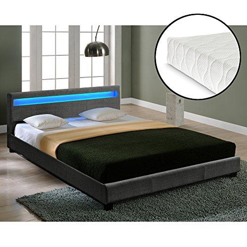 Corium Doppelbett mit Kaltschaum-Matratze und LED-Beleuchtung Polsterbett 180x200cm Bettgestell mit Lattenrost Stoff Bett ÖKO-Tex Standard 100 Matratze