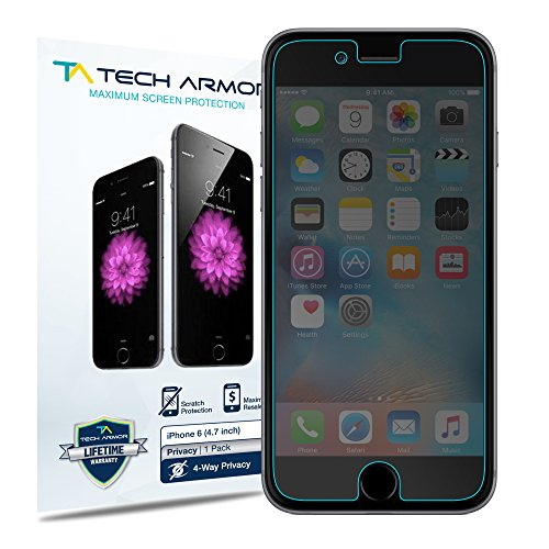 Tech Armor 4Way 360 Degree Privacy Film Screen Protector for Apple iPhone 6S   iPhone 6 (4.7-inch) [1-Pack]