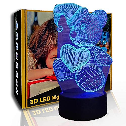 KangYD Cute Teddy Bear 3D Luz nocturna, lámpara visual LED, decoración del hogar, F- Base de audio Bluetooth (5 colores), Lámpara de humor, Luz creativa