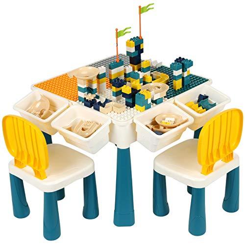 Multi-Aktivitätstisch-Set, Kindertisch und Stuhl-Set für Kinder, Bauen, Spielen, Lesen, Schreiben, Spielzeug, Aufbewahrung, frühes pädagogisches Kleinkindspielzeug